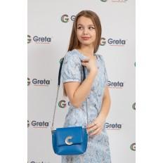 На фото 4 - Женская сумка кросс-боди из натуральной кожи, цвет синий