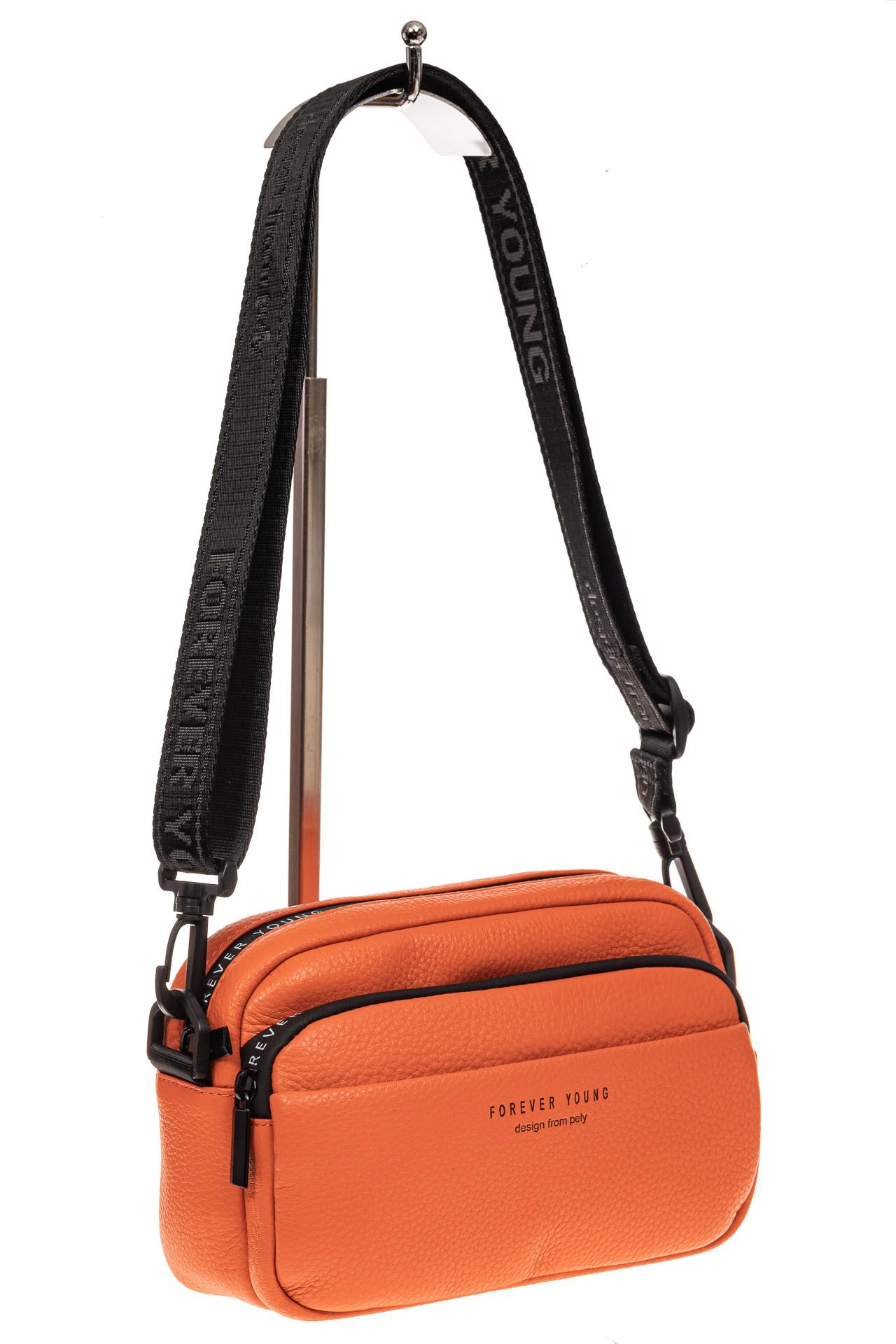 На фото 1 - Мягкая кросс-боди из натуральной кожи, цвет оранжевый