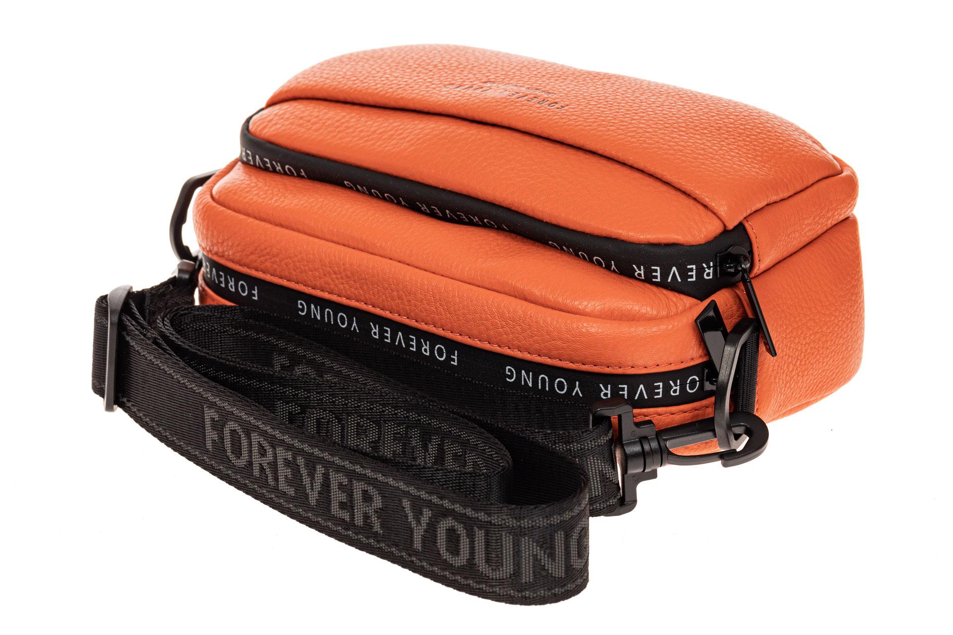 На фото 3 - Мягкая кросс-боди из натуральной кожи, цвет оранжевый