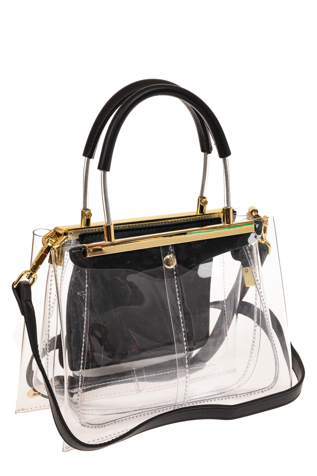 На фото 1 - Сумка кросс-боди с фермуаром из прозрачного винила, цвет черный
