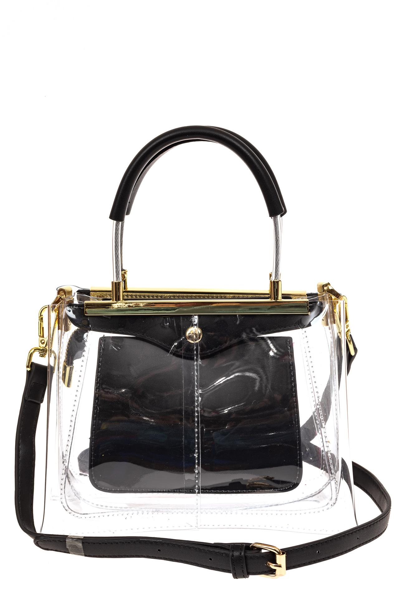 На фото 2 - Сумка кросс-боди с фермуаром из прозрачного винила, цвет черный