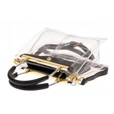 На фото 3 - Сумка кросс-боди с фермуаром из прозрачного винила, цвет черный