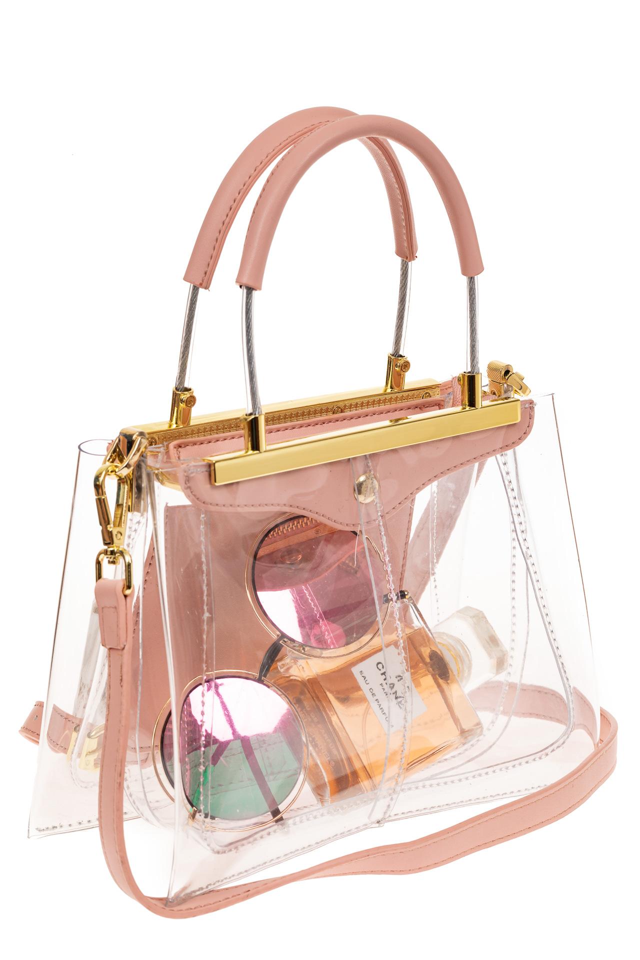 На фото 1 - Сумка кросс-боди с фермуаром из прозрачного винила, цвет розовый