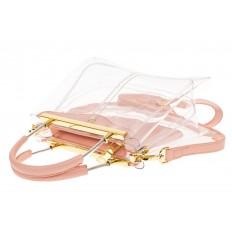 На фото 3 - Сумка кросс-боди с фермуаром из прозрачного винила, цвет розовый