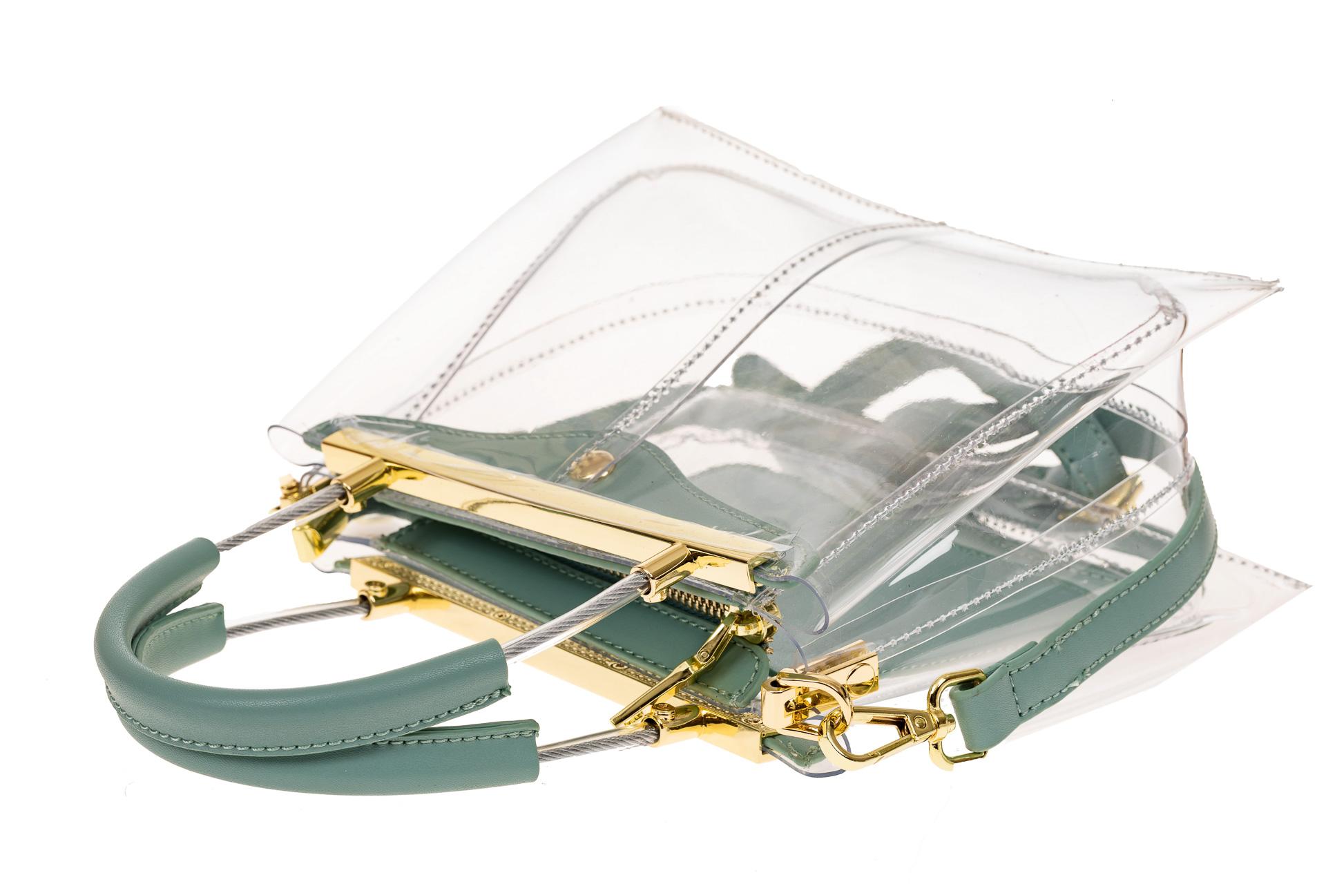 На фото 3 - Сумка кросс-боди с фермуаром из прозрачного винила, цвет голубой
