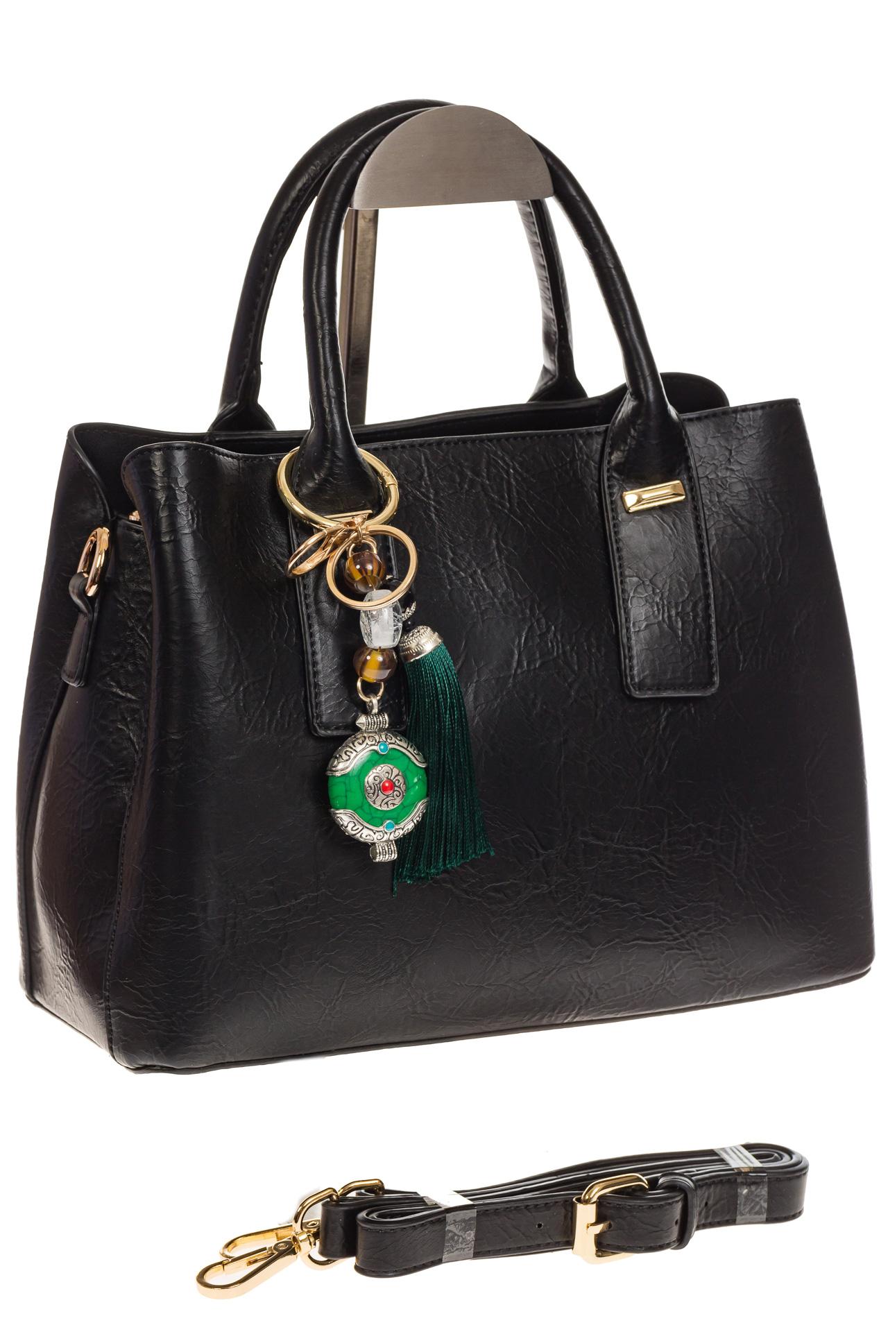 На фото 1 - Женская сумка handle bag из черной искусственной кожи