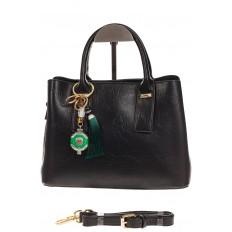 На фото 2 - Женская сумка handle bag из черной искусственной кожи