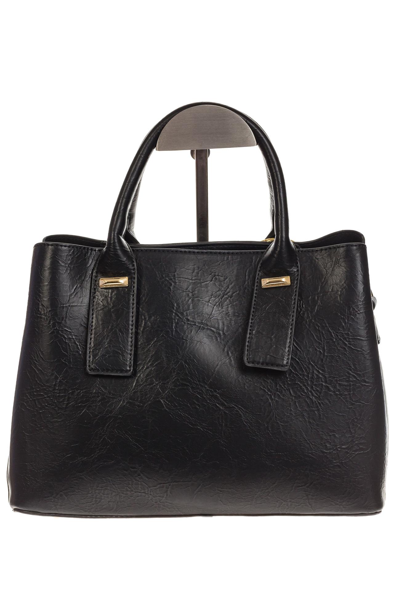 На фото 3 - Женская сумка handle bag из черной искусственной кожи