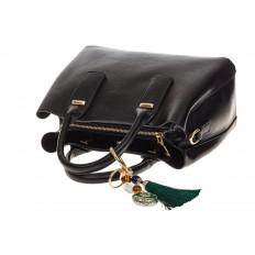 На фото 4 - Женская сумка handle bag из черной искусственной кожи