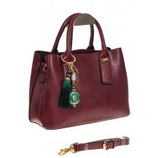 На фото 1 - Женская сумка handle bag из бордовой искусственной кожи