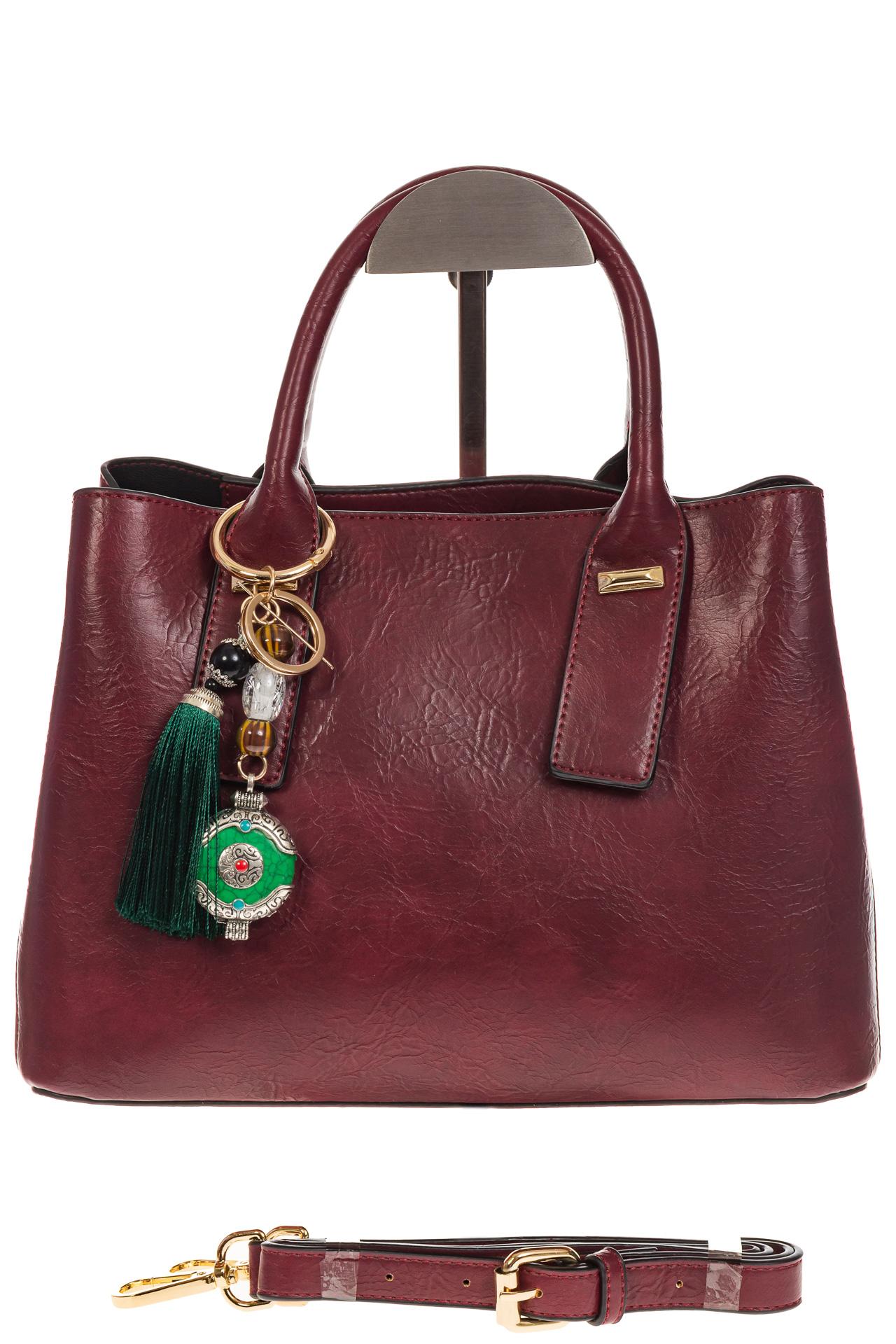На фото 2 - Женская сумка handle bag из бордовой искусственной кожи