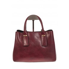 На фото 3 - Женская сумка handle bag из бордовой искусственной кожи