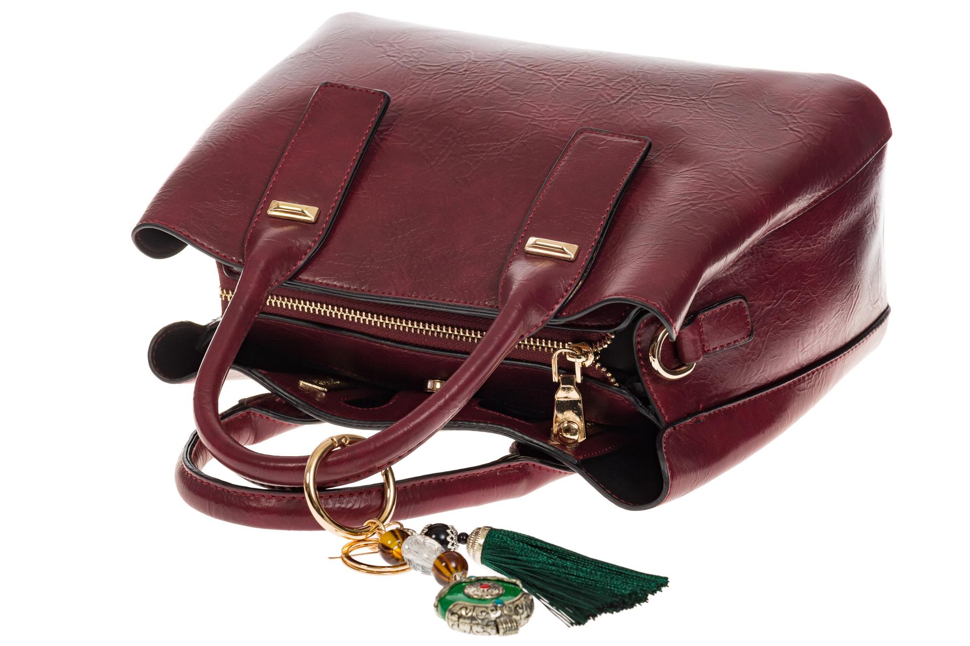 На фото 4 - Женская сумка handle bag из бордовой искусственной кожи