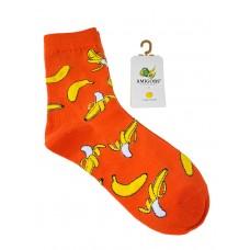 На фото 1 - Носки молодёжные с фруктовым принтом, цвет оранжевый