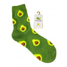 На фото 1 - Носки молодёжные с фруктовым принтом, цвет оливковый