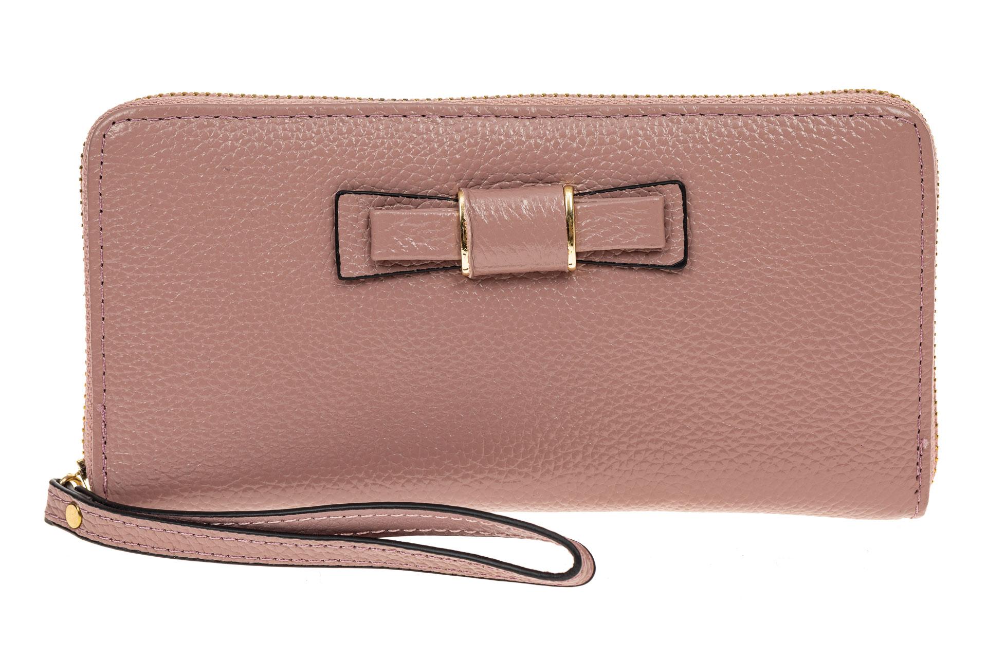 На фото 1 - Элегантное портмоне из натуральной кожи, цвет пудра