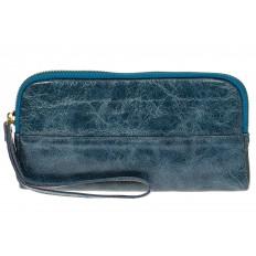 На фото 2 - Женское портмоне из натуральной кожи, цвет голубой