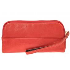 На фото 1 - Женское портмоне из натуральной кожи, цвет коралловый