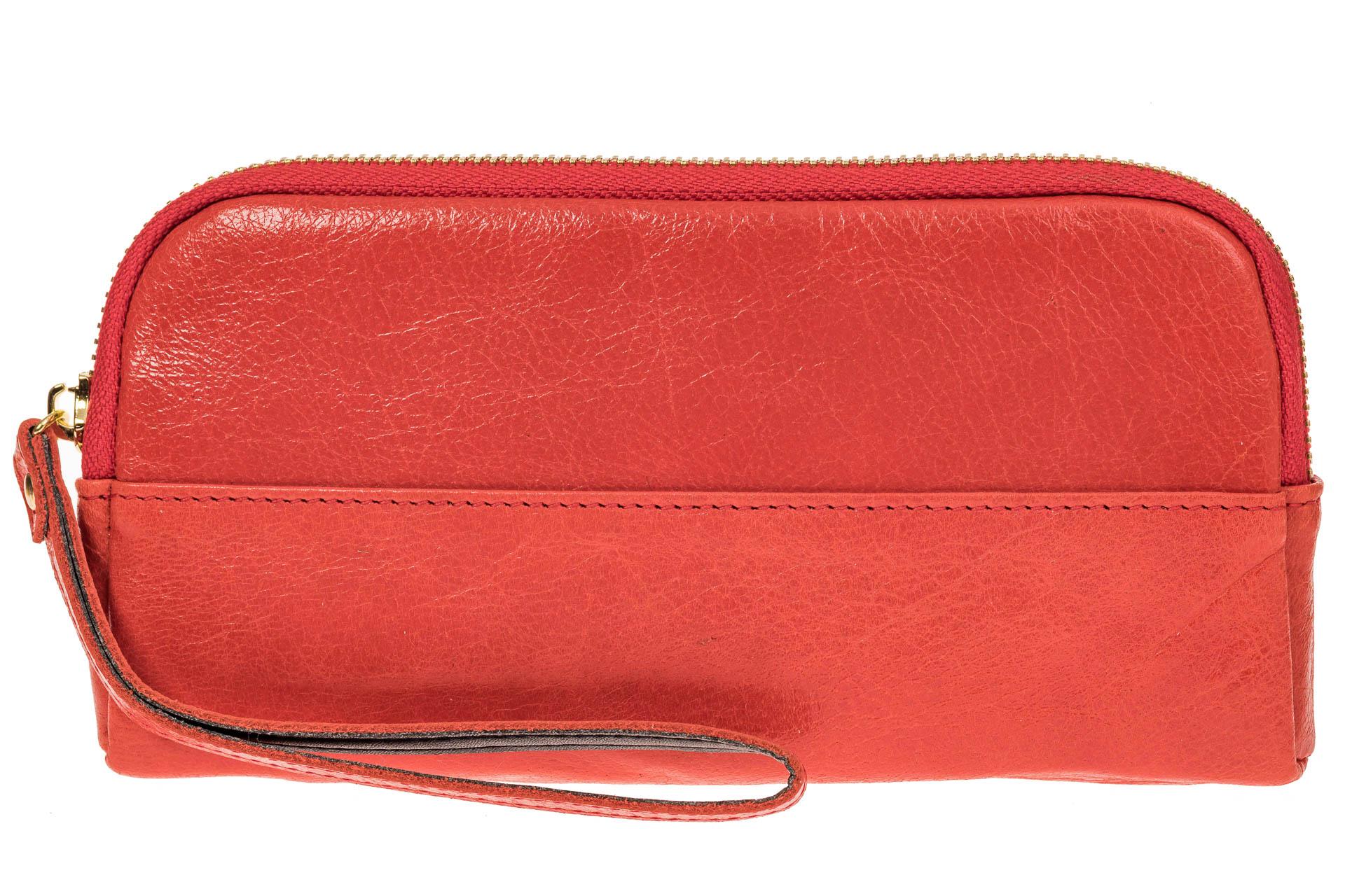 На фото 2 - Женское портмоне из натуральной кожи, цвет коралловый