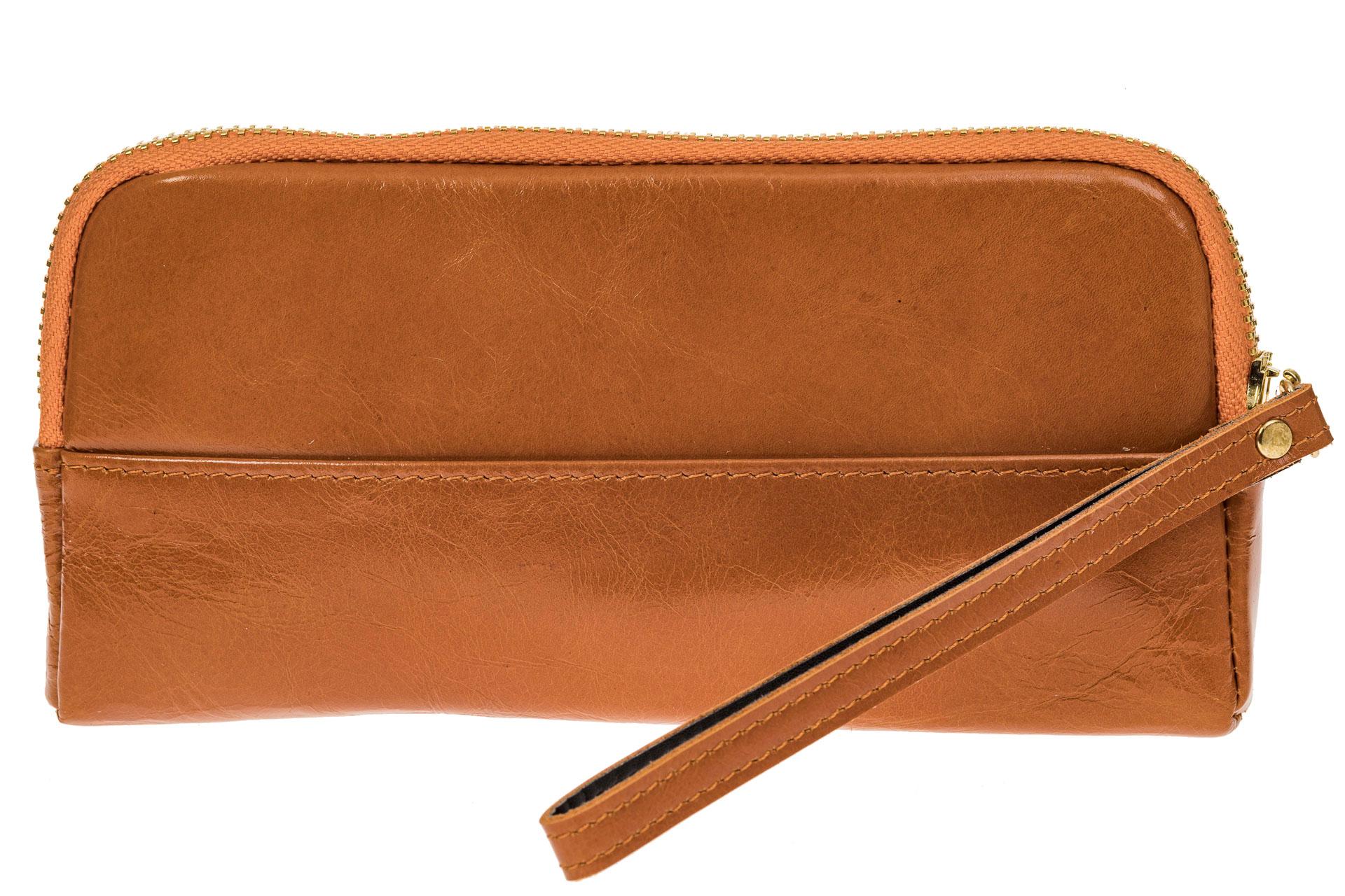 На фото 1 - Женское портмоне из натуральной кожи, цвет рыжий