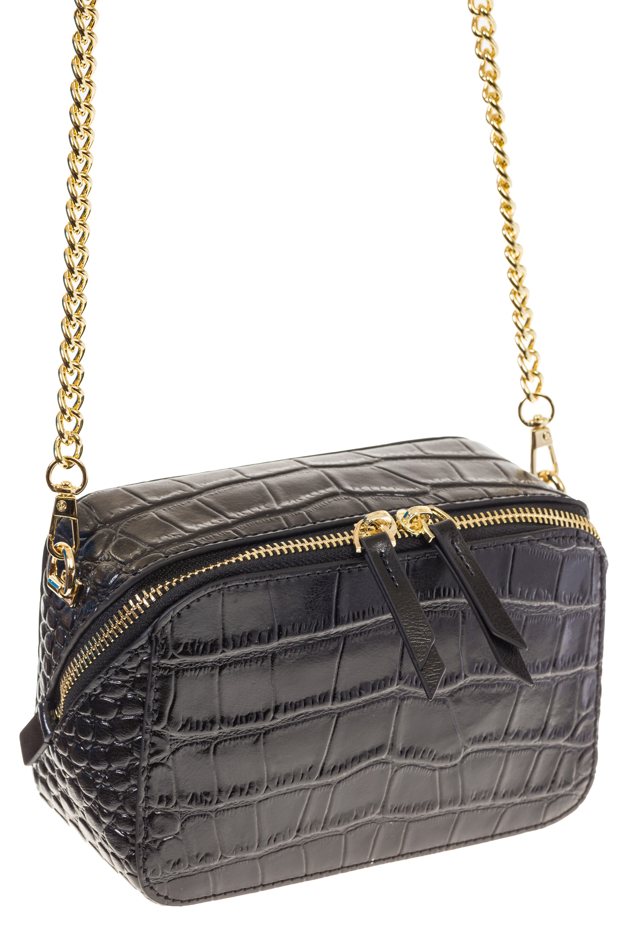 На фото 1 - Перламутровая сумка-коробочка черного цвета 13G178K