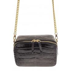 На фото 2 - Перламутровая сумка-коробочка черного цвета 13G178K