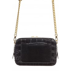 На фото 3 - Перламутровая сумка-коробочка черного цвета 13G178K