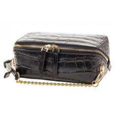 На фото 4 - Перламутровая сумка-коробочка черного цвета 13G178K