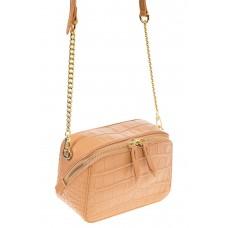 На фото 1 - Перламутровая сумка-коробочка бежевого цвета 13G178K