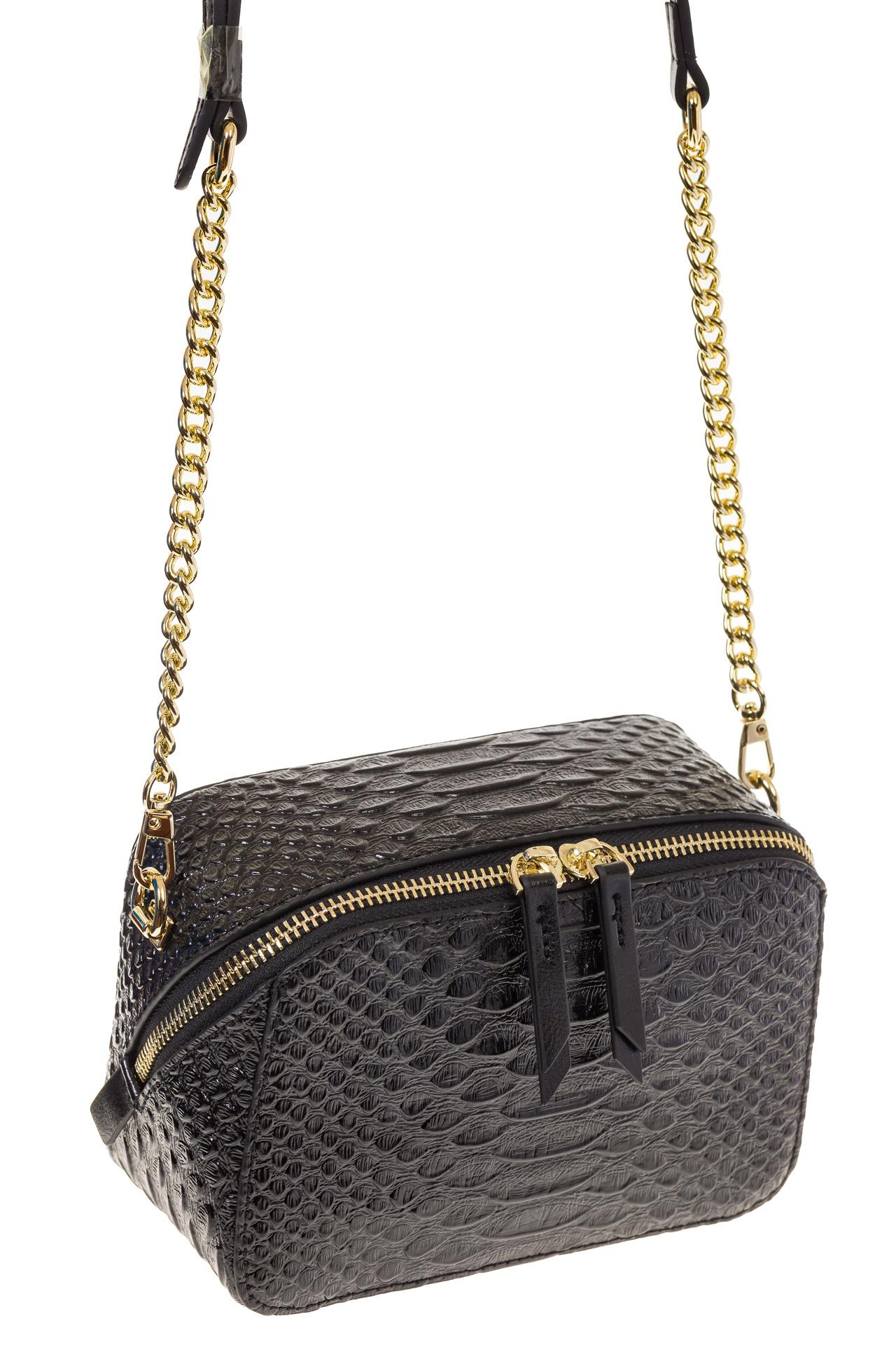 На фото 1 - Женская сумка-коробочка черного цвета 13G178Z