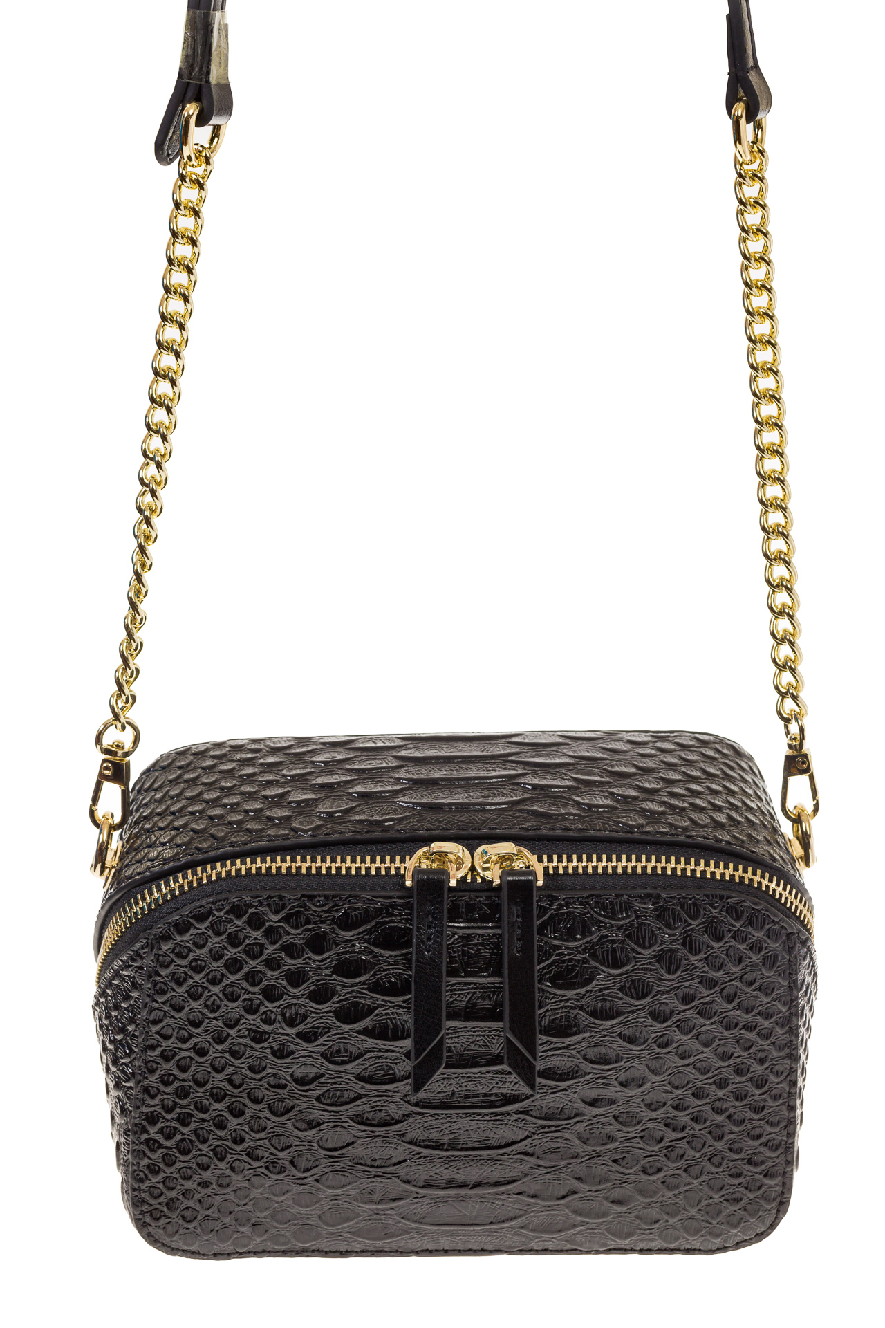 На фото 2 - Женская сумка-коробочка черного цвета 13G178Z