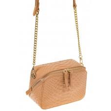 На фото 1 - Женская сумка-коробочка бежевого цвета 13G178Z