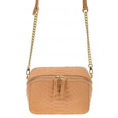 На фото 2 - Женская сумка-коробочка бежевого цвета 13G178Z