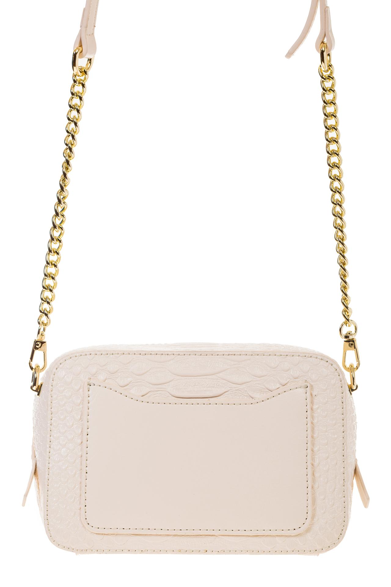 На фото 3 - Женская сумка-коробочка белого цвета 13G178Z