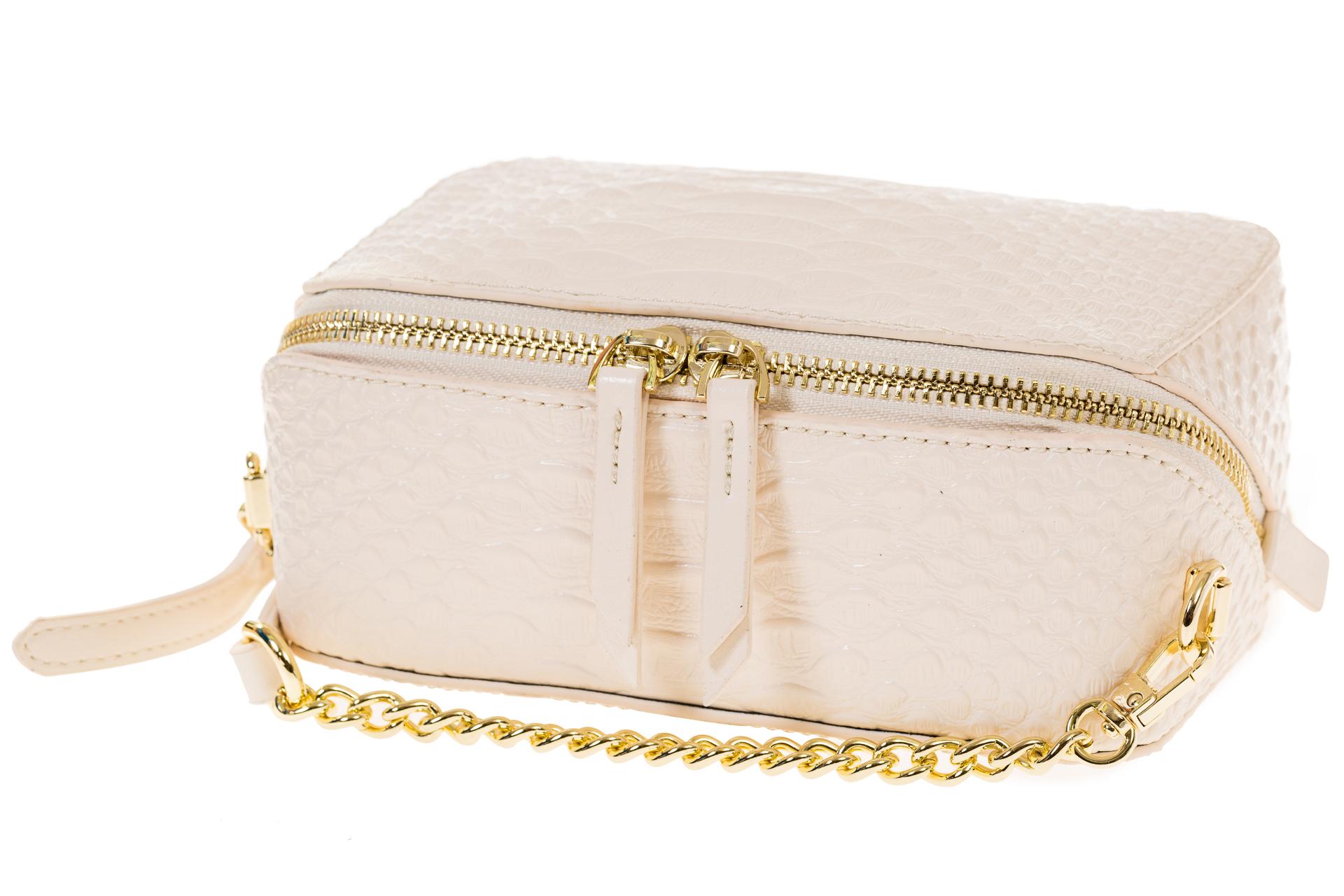 На фото 4 - Женская сумка-коробочка белого цвета 13G178Z