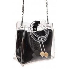 На фото 1 - Ring-bag из винила и эко-кожи, цвет черный
