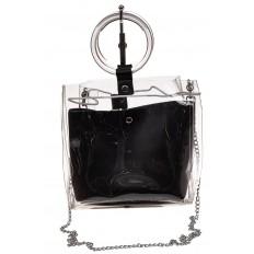 На фото 2 - Уникальная ring-bag из винила и эко-кожи, цвет черный