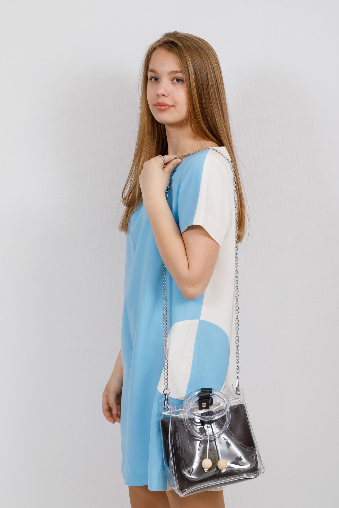 На фото 4 - Уникальная ring-bag из винила и эко-кожи, цвет черный