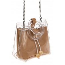 На фото 1 - Ring-bag из винила и эко-кожи, цвет бежевый