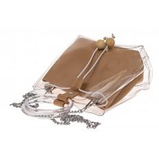 На фото 3 - Ring-bag из винила и эко-кожи, цвет бежевый