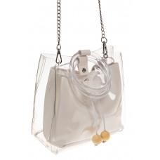 На фото 1 - Ring-bag из винила и эко-кожи, цвет белый