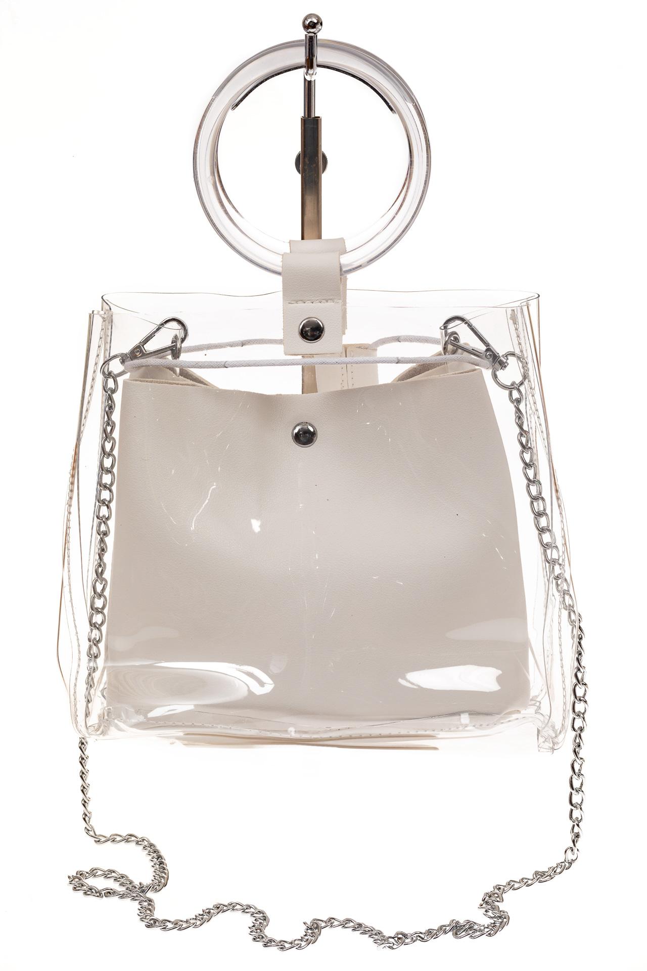 На фото 2 - Ring-bag из винила и эко-кожи, цвет белый