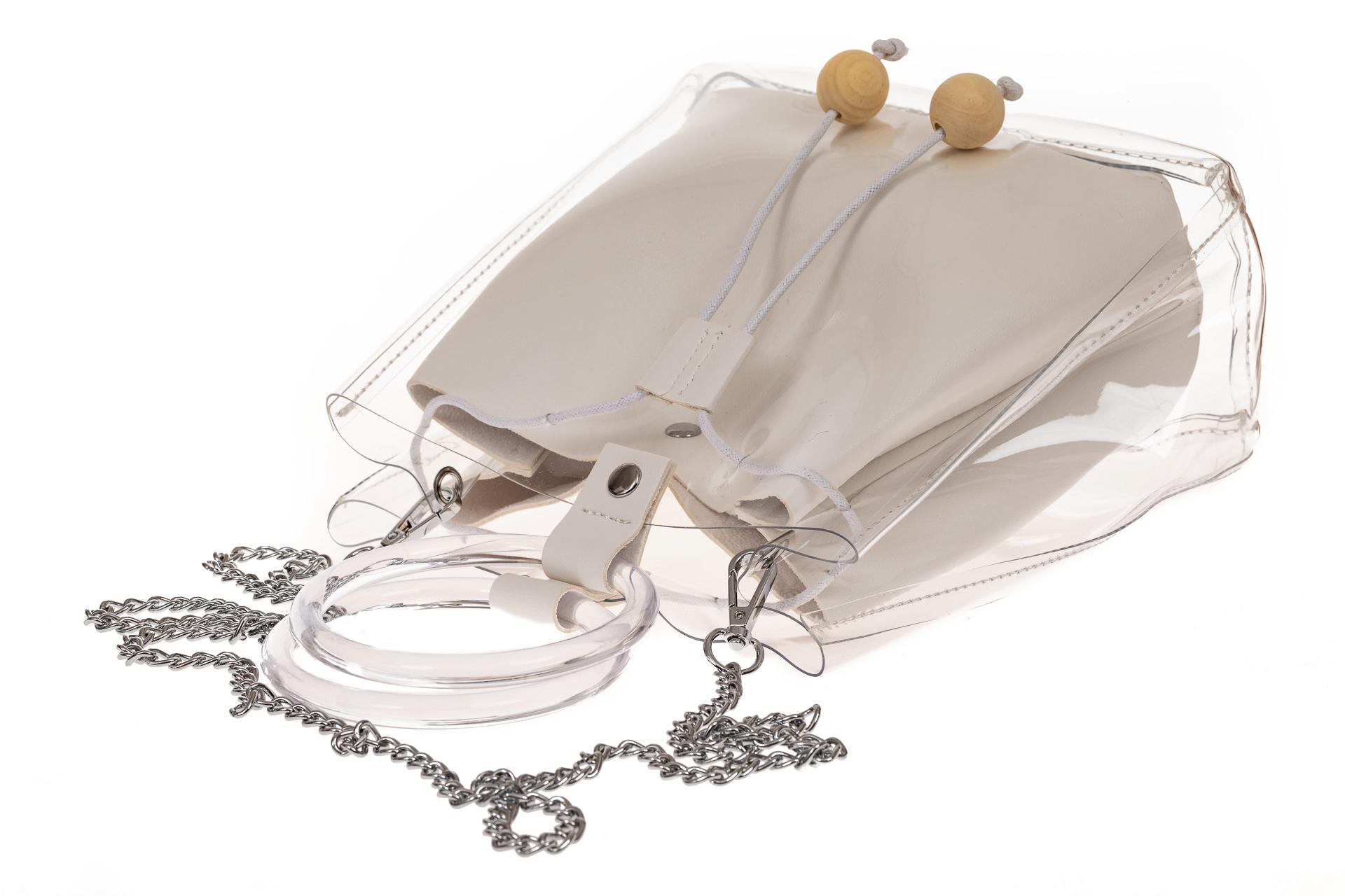 На фото 3 - Ring-bag из винила и эко-кожи, цвет белый