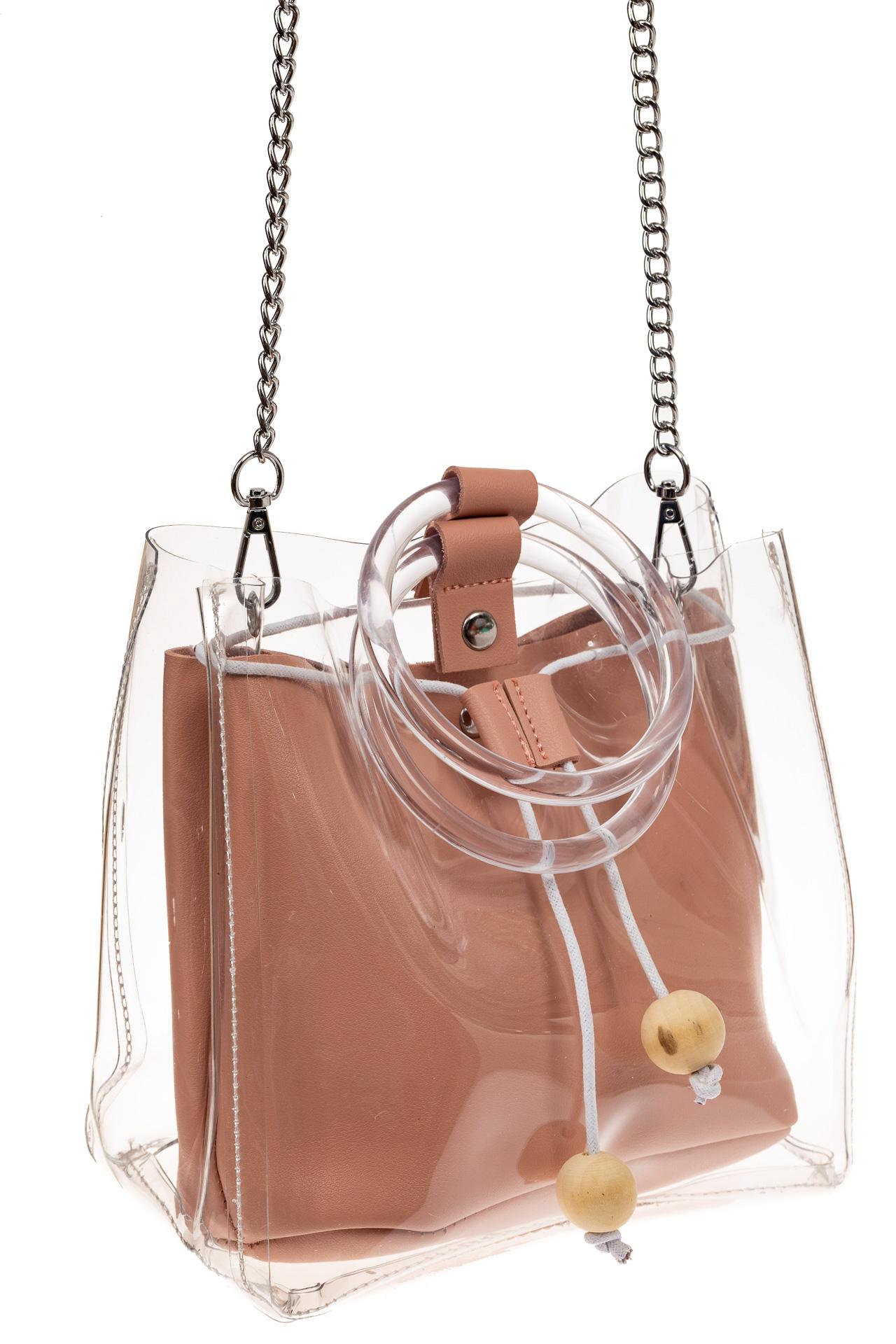На фото 1 - Недорогой ring-bag из винила и эко-кожи, цвет розовый