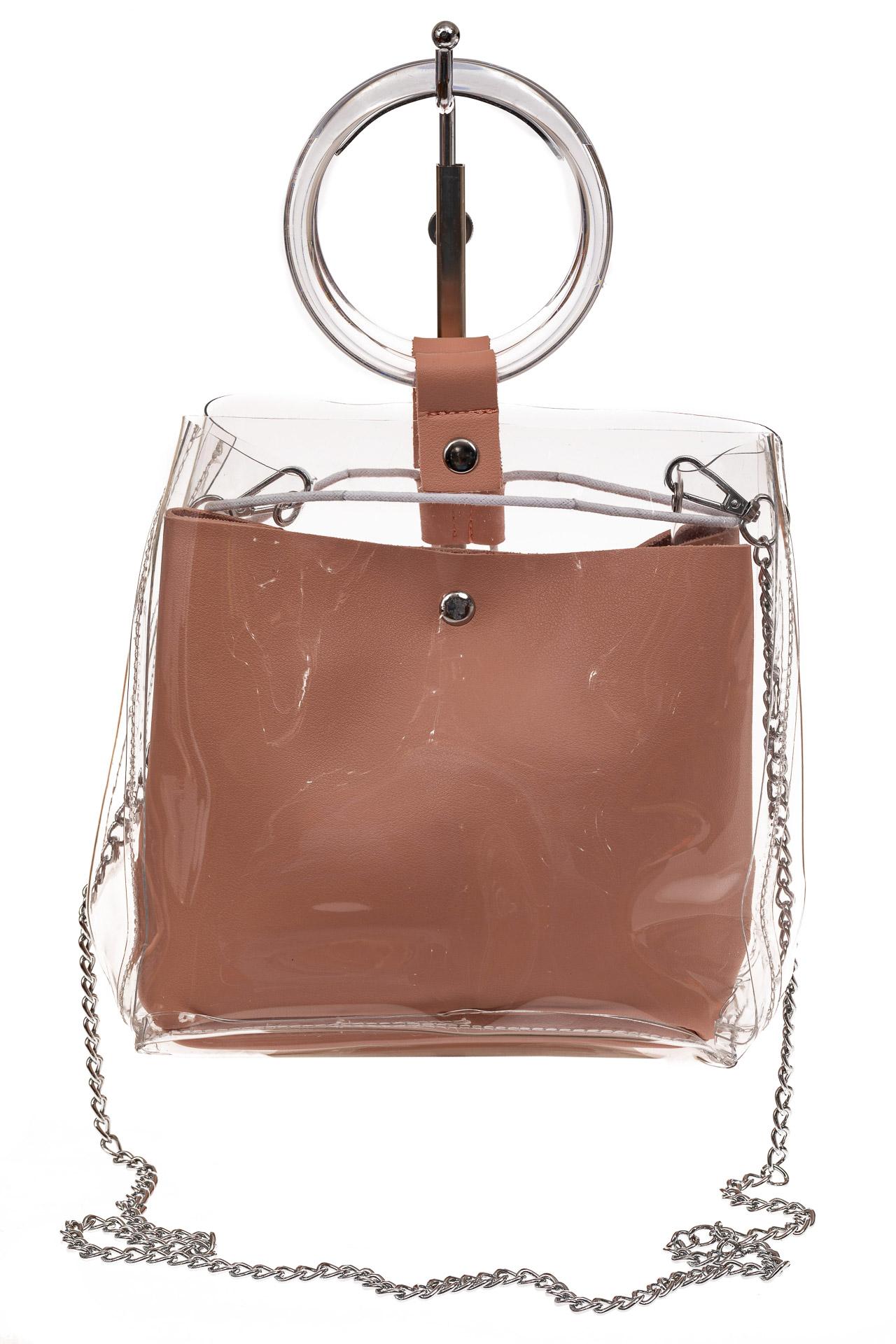 На фото 2 - Недорогой ring-bag из винила и эко-кожи, цвет розовый