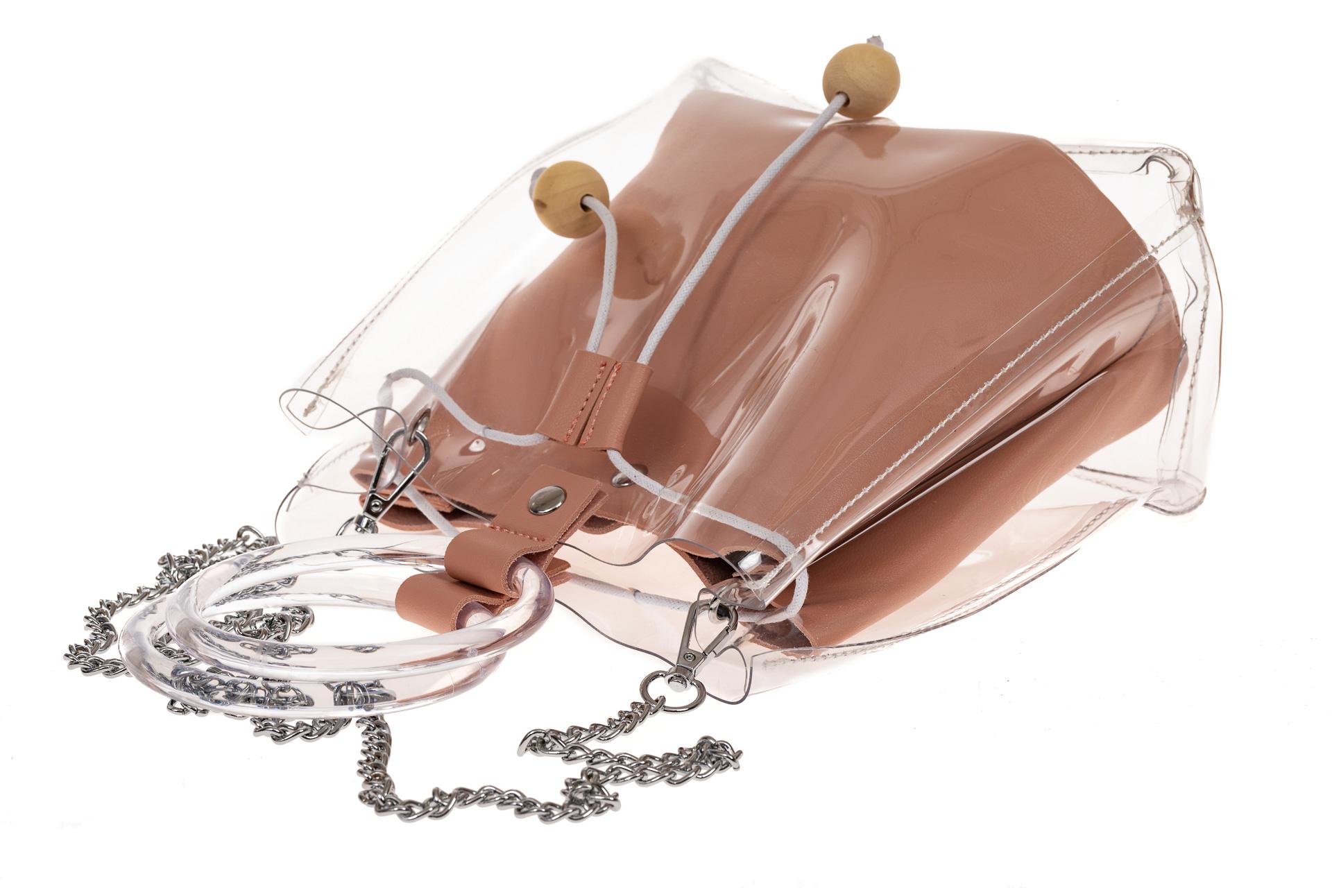 На фото 3 - Недорогой ring-bag из винила и эко-кожи, цвет розовый
