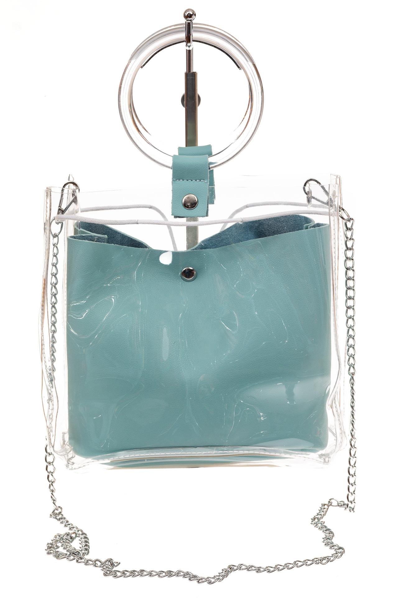 На фото 2 - Ring-bag из винила и эко-кожи, цвет голубой