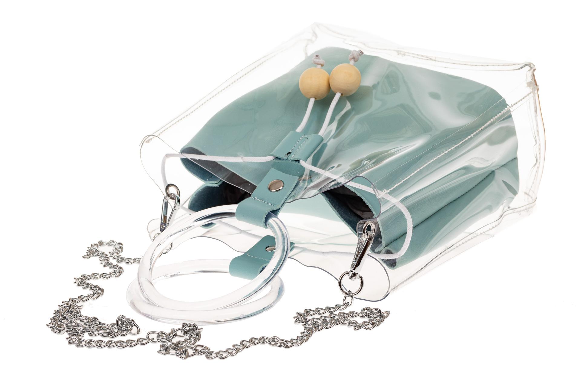 На фото 3 - Ring-bag из винила и эко-кожи, цвет голубой