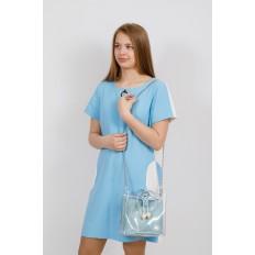 На фото 4 - Ring-bag из винила и эко-кожи, цвет голубой