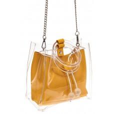 На фото 1 - Сумочка ring-bag из винила и эко-кожи, цвет манго